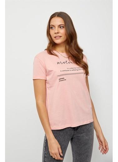Setre Lila Slogan Baskılı T-Shirt Pudra